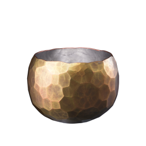Round-shaped Sake cup<br>Large hammered pattern<br>Gold color (60ml)