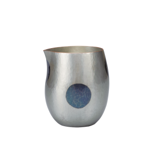 Egg-shaped Sake carafe<br>Light silver with deep blue dots (370ml)