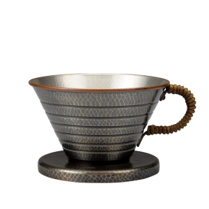 Coffee dripper<br>Textured hammered pattern<br>Smoky silver