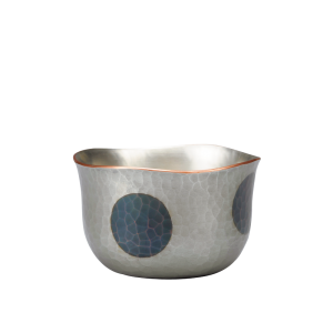 Sake cup<br>Light silver with deep blue dots (60ml)