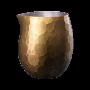 Egg-shaped Sake carafe<br>Large hammered pattern<br>Gold color (370ml)