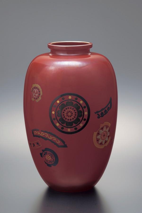 四代 玉川 覚平 作「花瓶古代瓦象嵌」(1921年)
